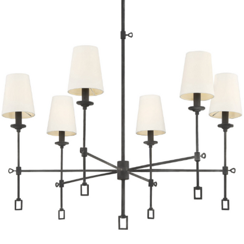 Lorainne 6 light chandelier by savoy house in oxidized black with fabric shades 1 9000