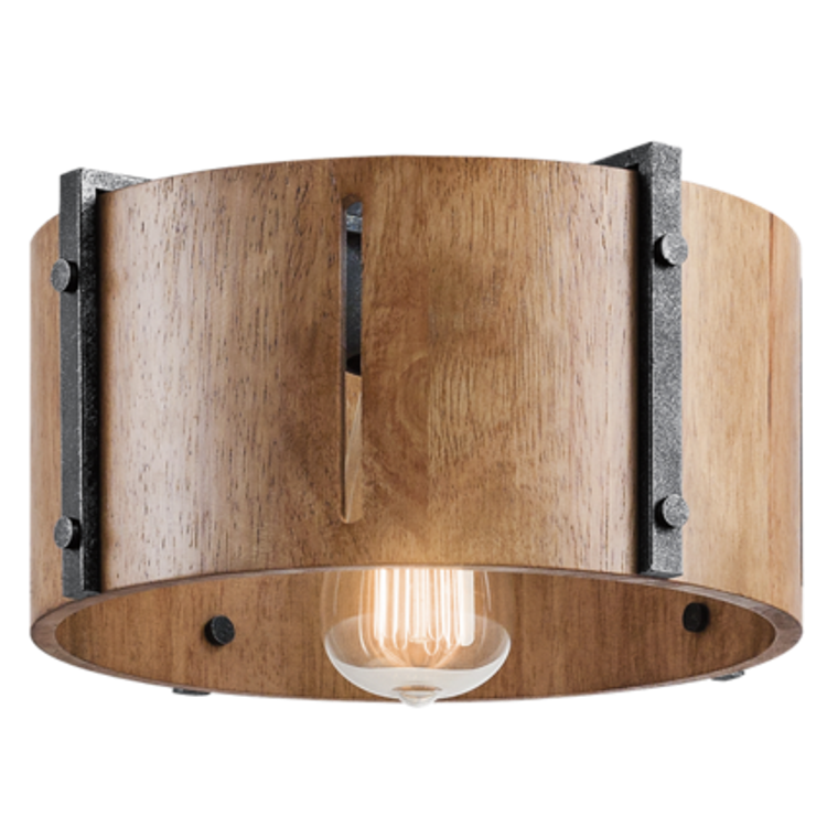 Elbur 1 Light Semi Flush in Distressed Black with Natural Maple Shade by Kichler Lighting 42643DBK