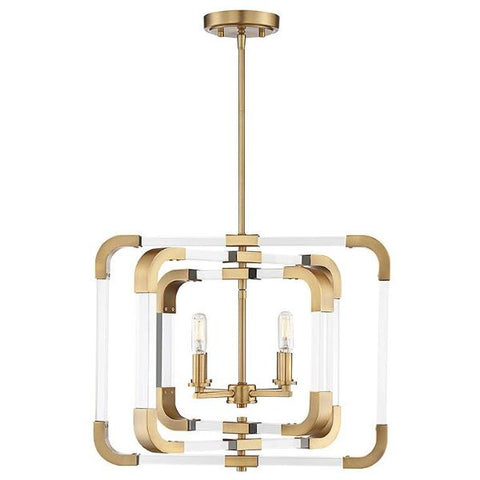 Rotterdam 4 Light Pendant in Warm Brass by Savoy House 6-1662-4-322