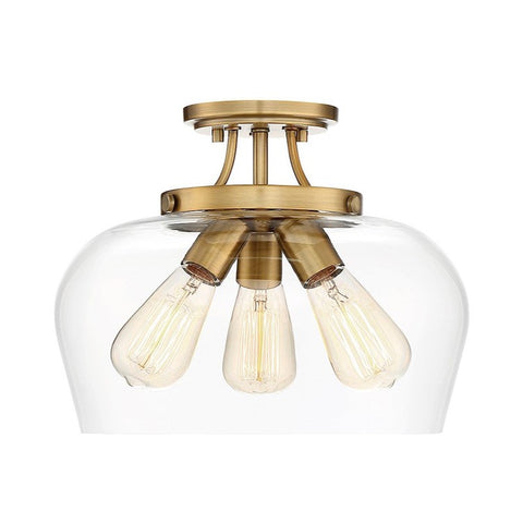 Octave Semi Flush by Savoy House in Warm Brass 6-4035-3-322