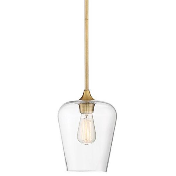 Octave 1 Light Pendant in Warm Brass with Clear Glass Shades by Savoy House 7-4036-1-322