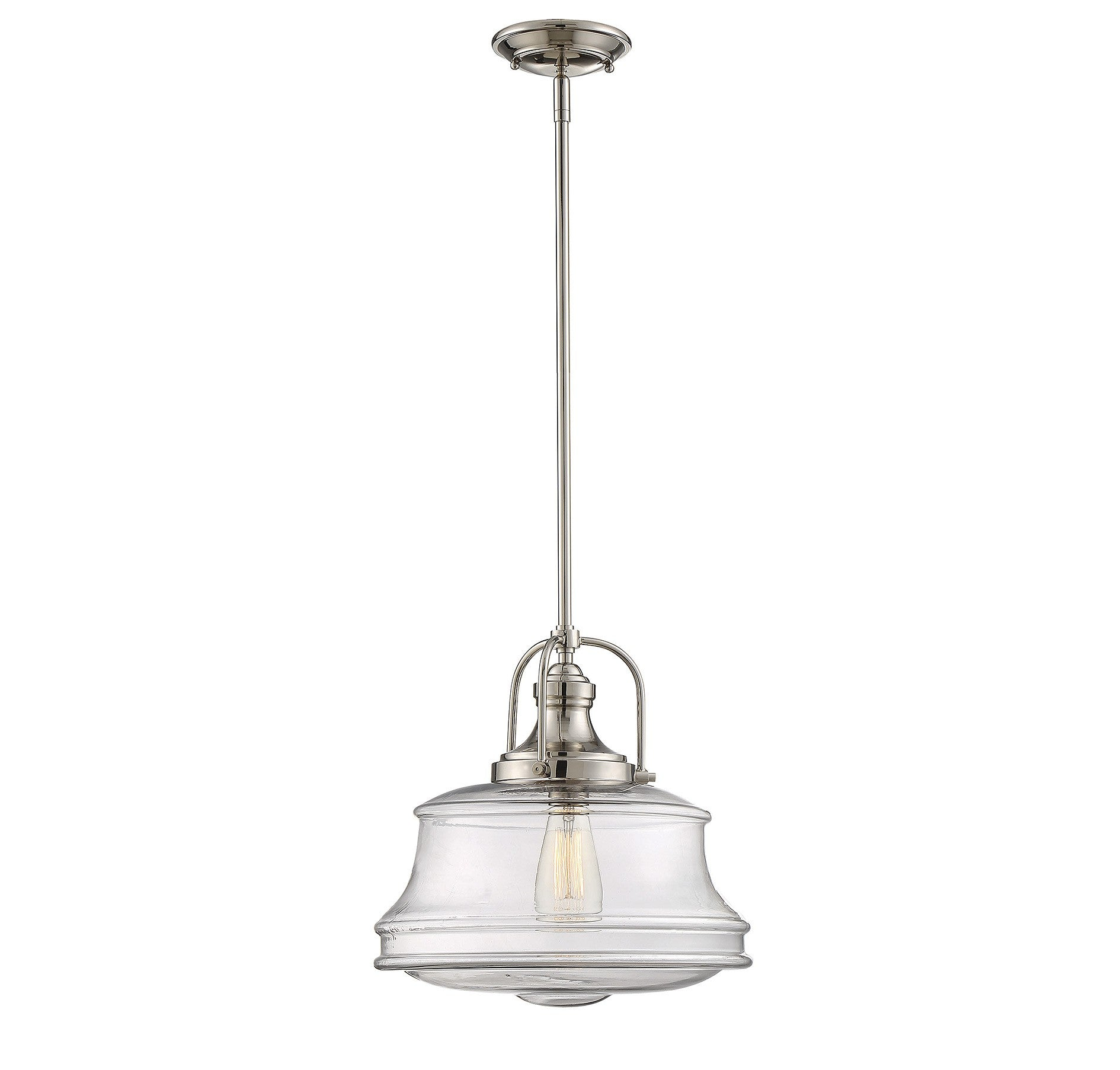 Garvey 1 Light Pendant in Polished Nickel with Clear Glass Shade by Savoy House 7-5012-1-109