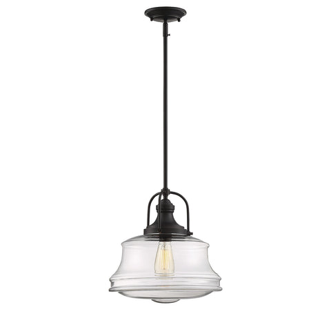 Garvey 1 Light Pendant in English Bronze with Clear Glass Shade by Savoy House 7-5012-1-13