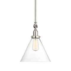 Drake Pendant by Savoy House in Polished Nickel with clear glass cone shade 7-9132-1-109