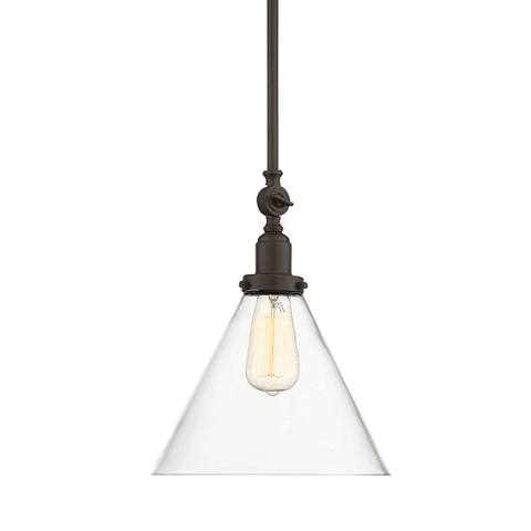Drake Pendant by Savoy House in English Bronze with clear glass cone shade 7-9132-1-13