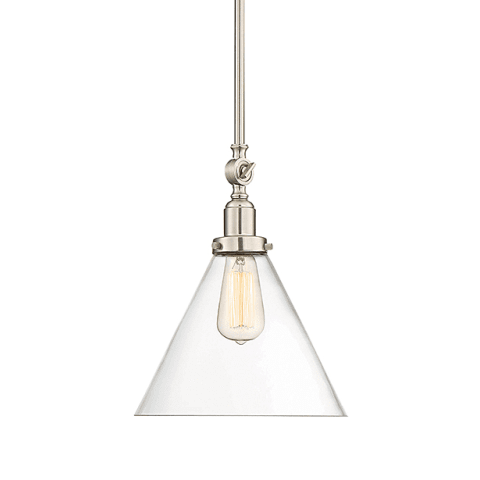 Drake Pendant by Savoy House in Satin Nickel with clear glass cone shade 7-9132-1-SN