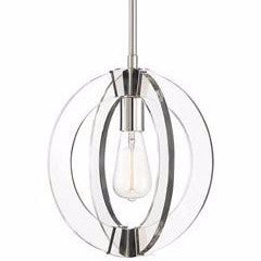 Epsilon 1 Light Pendant by Savoy House in Polished Nickel and Clear Acrylic 7-9160-1-109