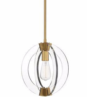 Epsilon 1 Light Pendant by Savoy House in Warm brass and Clear Acrylic 7-9160-1-322