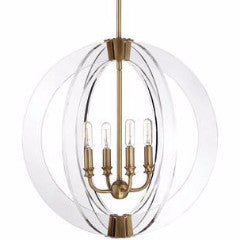 Epsilon 4 Light Pendant by Savoy House in Warm Brass and Clear Acrylic 7-9161-4-322