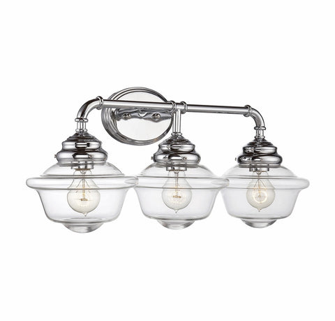 Savoy House Fairfield 3 Light Vanity in Chrome with Clear Glass 8-393-3-11