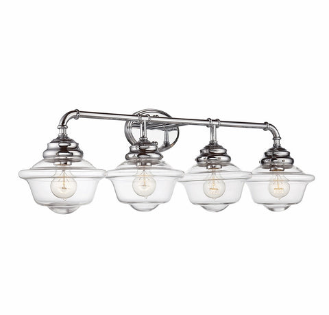 Savoy House Fairfield 4 Light Vanity in Chrome with Clear Glass 8-393-4-11