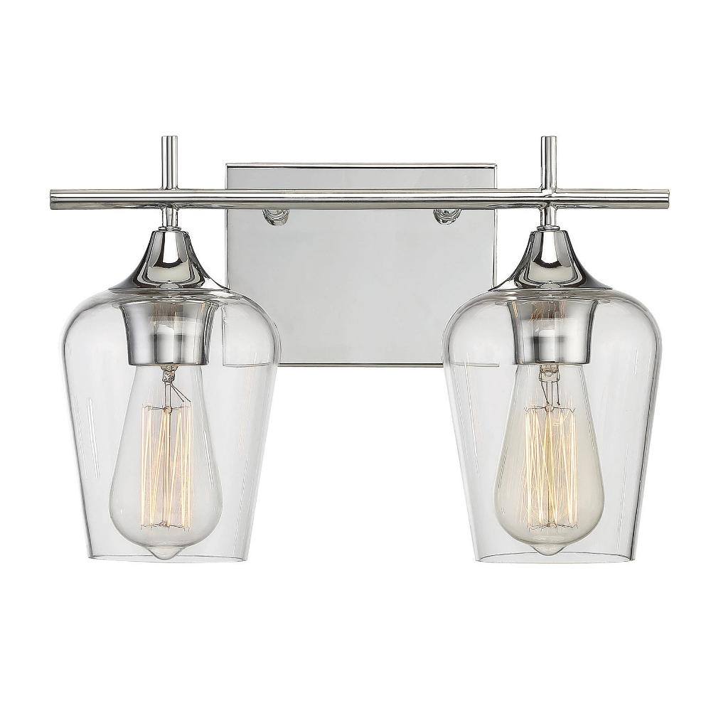 Octave 2 Light Vanity in Polished Chrome with Clear Glass Shades by Savoy House 8-4030-2-11
