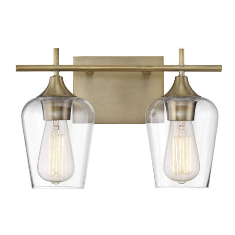 Octave 2 Light Vanity in Warm Brass with Clear Glass Shades by Savoy House 8-4030-2-322