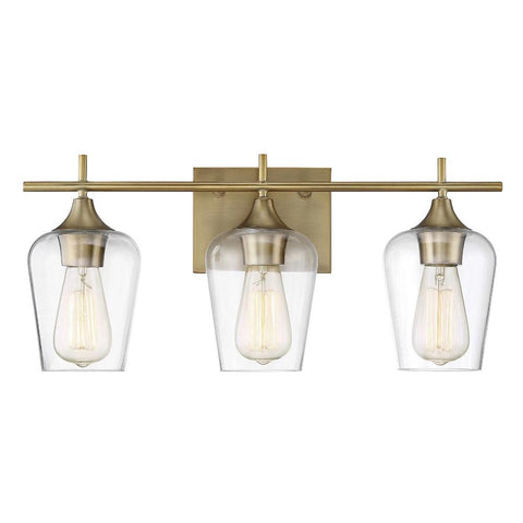 Octave 3 Light Vanity in Warm Brass with Clear Glass Shades by Savoy House 8-4030-3-322