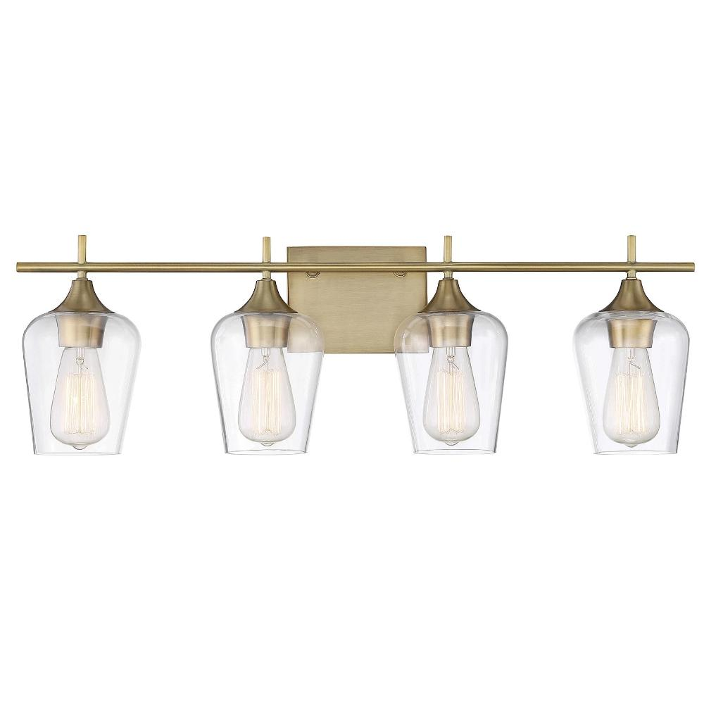 Octave 4 Light Vanity in Warm Brass with Clear Glass Shades by Savoy House 8-4030-4-322