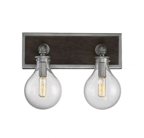 2 Light Industrial Dansk Light Bath Light by Savoy House in Galvanized Metal Finish with Clear Seedy Glass Globes 8-6073-2-90