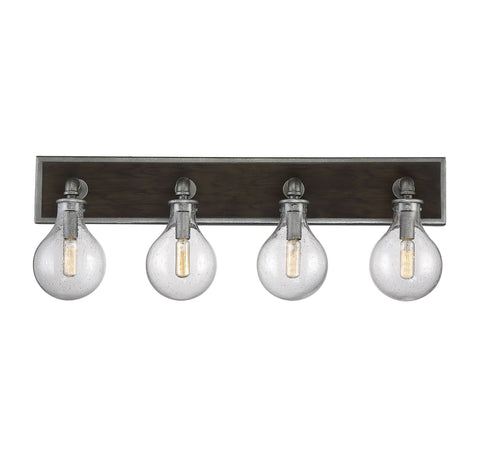 4 Light Industrial Dansk Light Bath Light by Savoy House in Galvanized Metal Finish with Clear Seedy Glass Globes 8-6073-4-90
