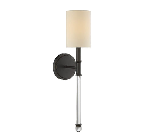 Savoy House Fremont 1 Light Wall Sconce in Classic Bronze and Soft White Fabric Shade 9-101-1-144