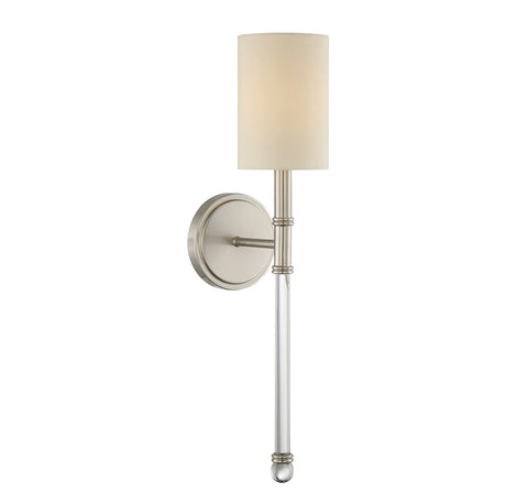 Savoy House Fremont 1 Light Wall Sconce in Satin Nickel and Soft White Fabric Shade 9-101-1-SN