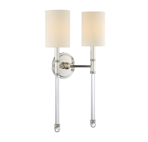 Savoy House Fremont 2 Light Wall Sconce in Classic Bronze and Soft White Fabric Shade 9-103-2-144