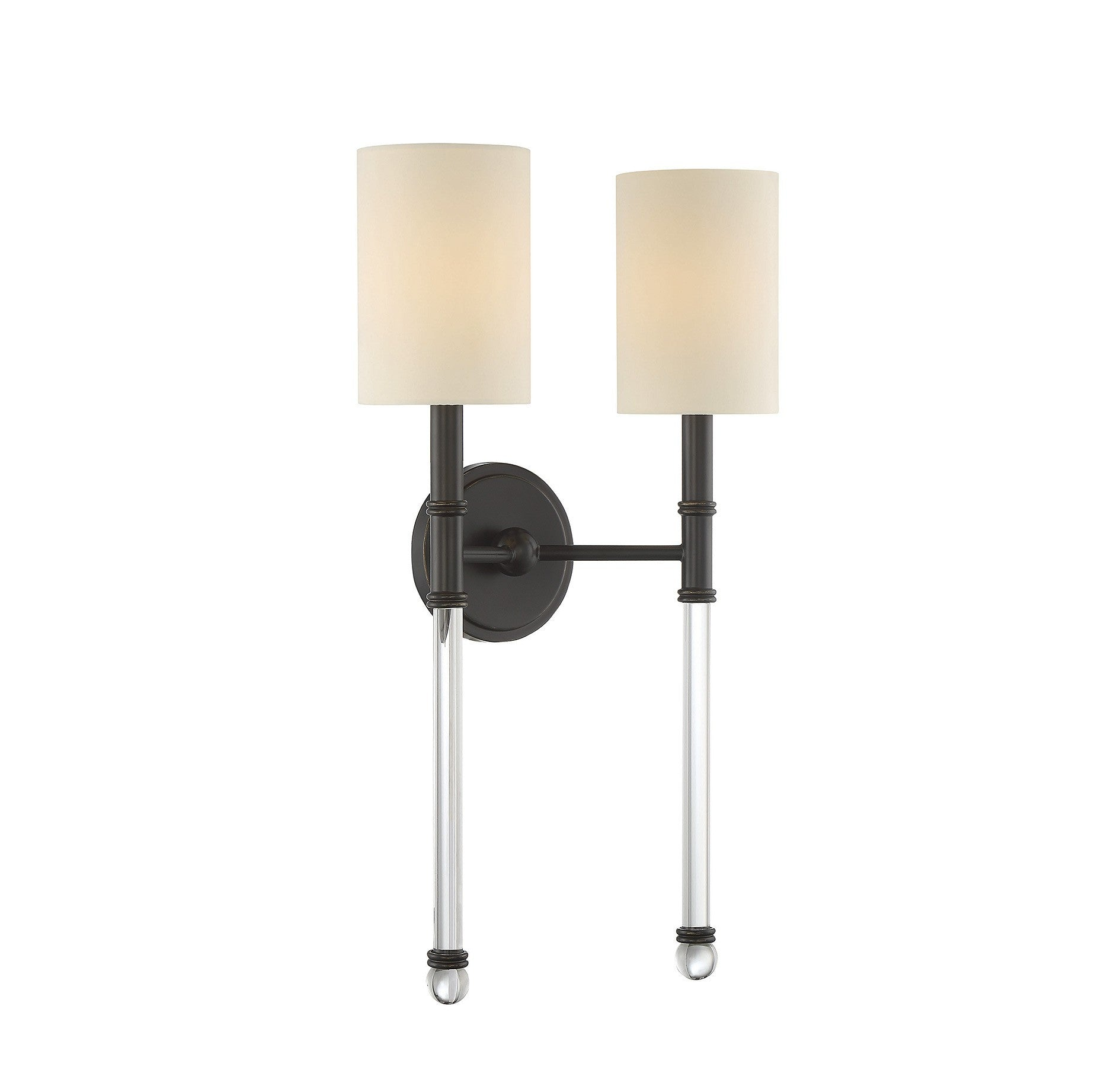 Savoy House Fremont 2 Light Wall Sconce in Polished Nickel and Soft White Fabric Shade 9-103-2-109