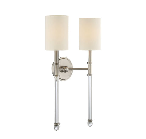 Savoy House Fremont 2 Light Wall Sconce in Satin Nickel and Soft White Fabric Shade 9-103-2-SN