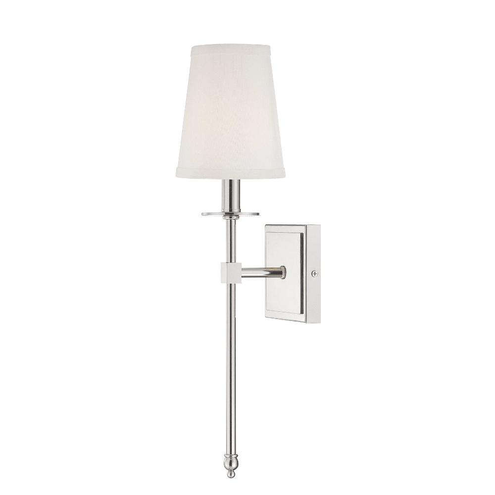 Small Monroe Sconce, 1-Light Wall Sconce, Polished Nickel, White Fabric Shade