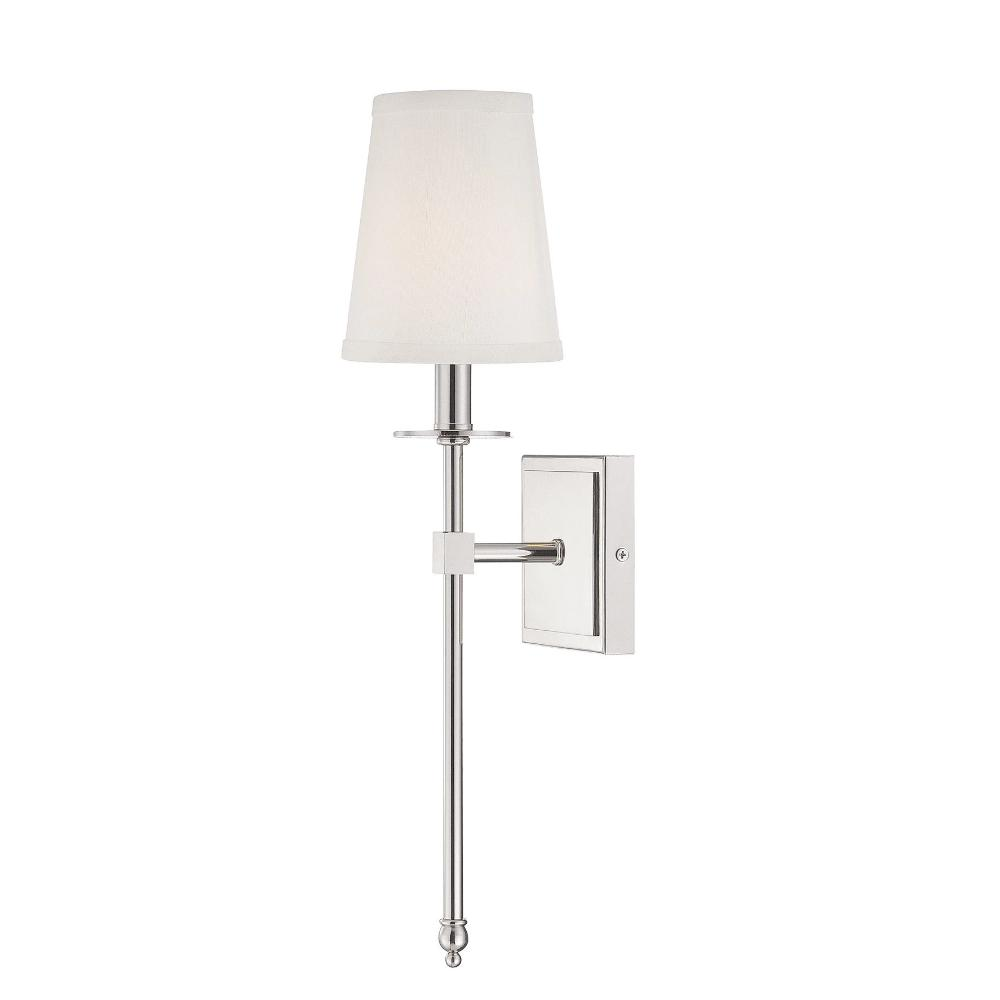 1 Light Monroe Wall Sconce in Polished Nickel with Soft Fabric White Shade by Savoy House 9-302-1-109