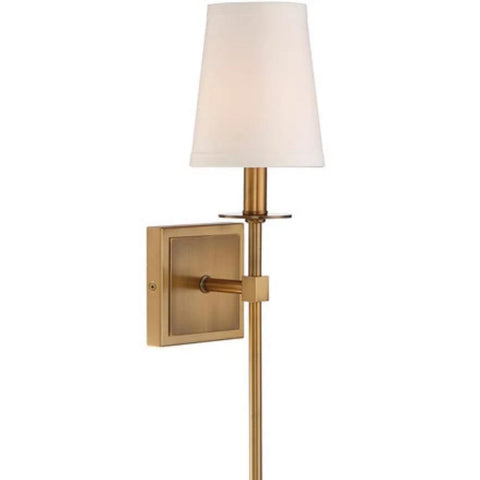 1 Light Monroe Wall Sconce in Warm Brass with Soft Fabric White Shade by Savoy House 9-302-1-322