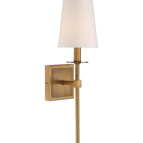 Small Monroe Sconce, 1-Light Wall Sconce, Warm Brass, White Fabric Shade