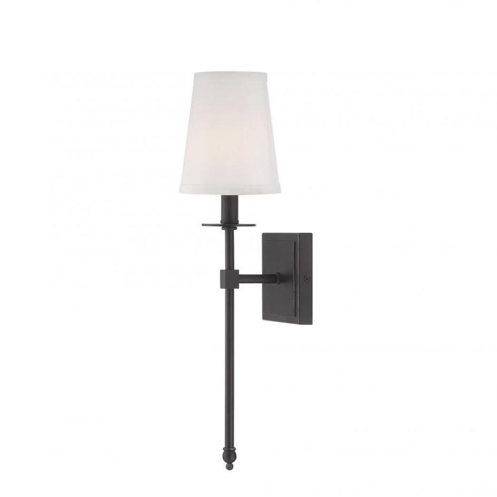 Small Monroe Sconce, 1-Light Wall Sconce, Classic Bronze, White Fabric Shade
