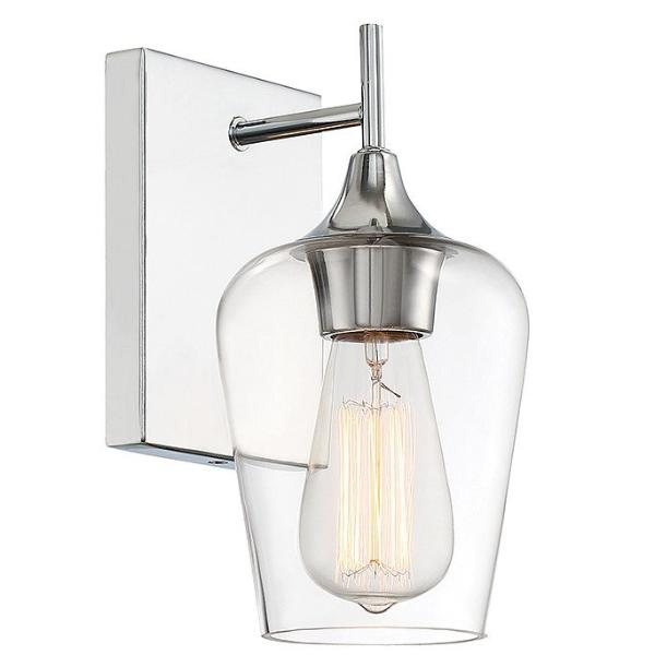 Octave 1 Light Vanity in Polished Chrome with Clear Glass Shade by Savoy House 9-4030-1-11