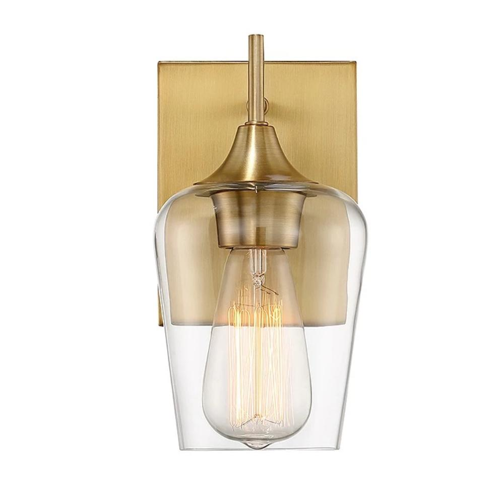Octave 1 Light Vanity in Warm Brass with Clear Glass Shade by Savoy House 9-4030-1-322