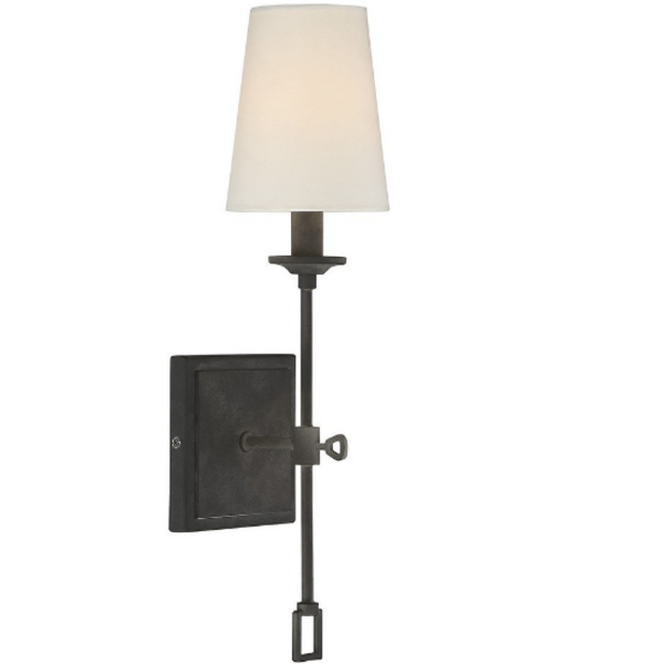 Lorainne 1 Light Wall Sconce by Savoy House in Oxidized Black with Fabric Shade 9-9004-1-88