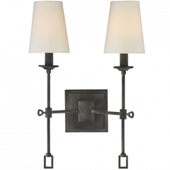 Lorainne Double Light Wall Sconce by Savoy House in Oxidized Black with Fabric Shade 9-9004-2-88