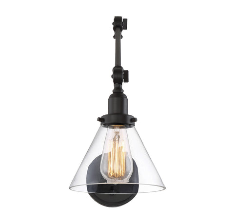 ... Savoy House Drake Swing Arm Wall Sconce In English Bronze With Clear  Glass Cone Shade 9 ...