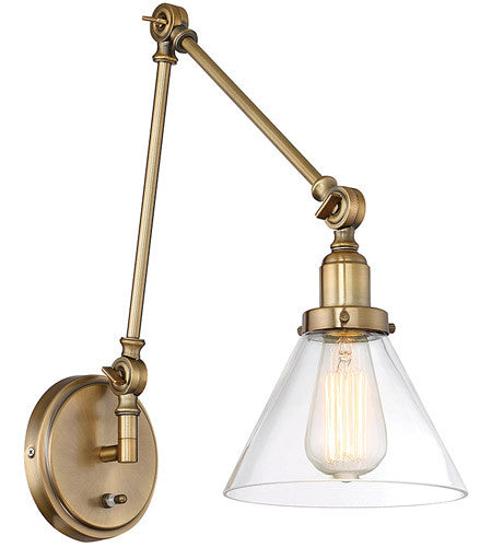 savoy house drake swing arm wall sconce in antique warm brass with clear glass cone shade - Savoy Lighting