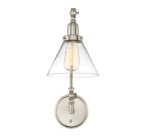 Savoy House Drake Swing Arm Wall Sconce in Satin Nickel with Clear Glass Cone Shade 9-9131CP-1-SN