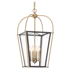 Savoy House 4 Light Dunbar Foyer Lantern in English Bronze and Warm Brass 3-9074-4-79