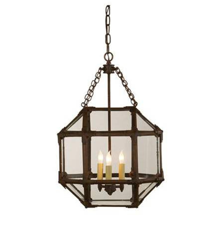 Small Visual Comfort Morris Lane Lantern Pendant with Aged Zinc Finish and Clear Glass SK5008AZ-CG