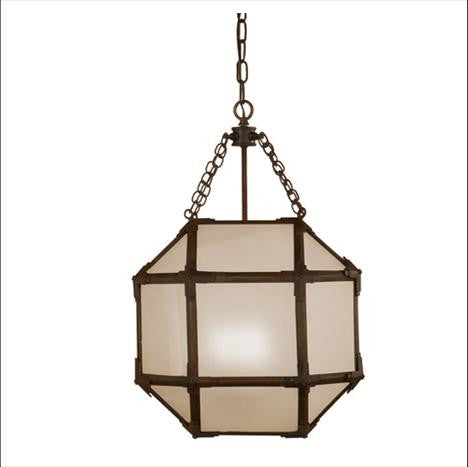 Small Visual Comfort Morris Lane Lantern Pendant with Aged Zinc Finish and Frosted Glass SK5008AZ-FG
