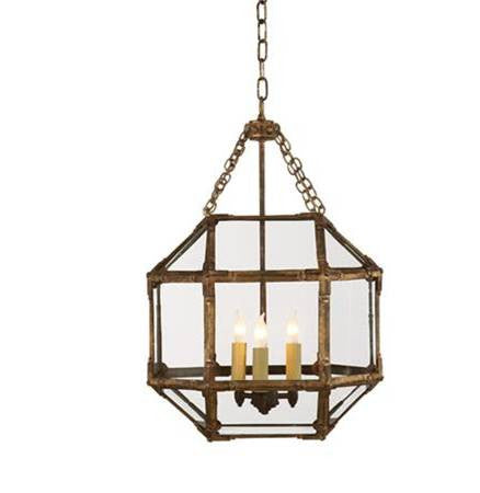 Small Visual Comfort Morris Lane Lantern Pendant with Gilded Iron Finish and Clear Glass SK5008GI-CG
