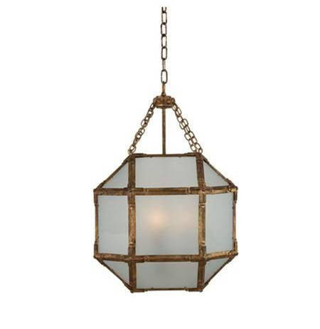 Small Visual Comfort Morris Lane Lantern Pendant with Gilded Iron Finish and Frosted Glass SK5008GI-FG