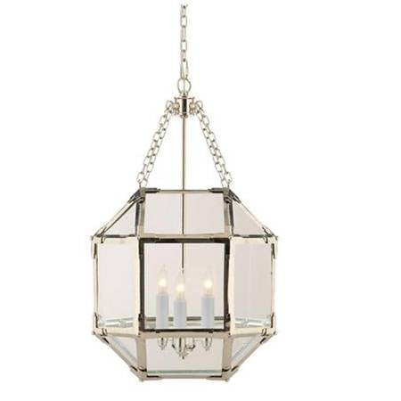 Small Morris Lane Lantern Pendant by Visual Comfort with Polished Nickel Finish and Clear Glass SK5008PN-CG