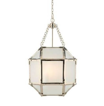 Small Morris Lane Lantern Pendant by Visual Comfort with Polished Nickel Finish and Frosted Glass SK5008PN-FG