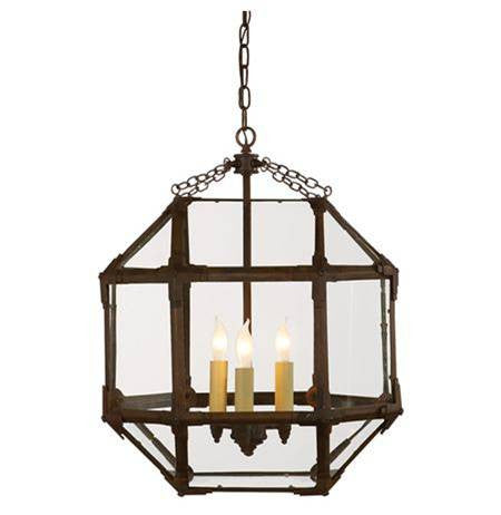 Medium Morris Lane Lantern Pendant by Visual Comfort with Aged Zinc Finish and Clear Glass SK5009AZ-CG