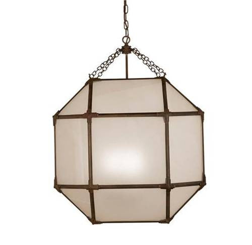Large Morris Lane Lantern Pendant with Aged Zinc Finish and Frosted Glass SK5010AZ-FG