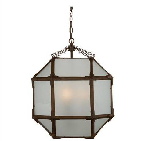 Medium Morris Lane Lantern Pendant by Visual Comfort with Aged Zinc Finish and Frosted Glass SK5009AZ-FG