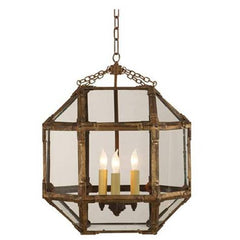 Medium Morris Lane Lantern Pendant by Visual Comfort in Gilded Iron with Clear Glass SK5009 GI-CG