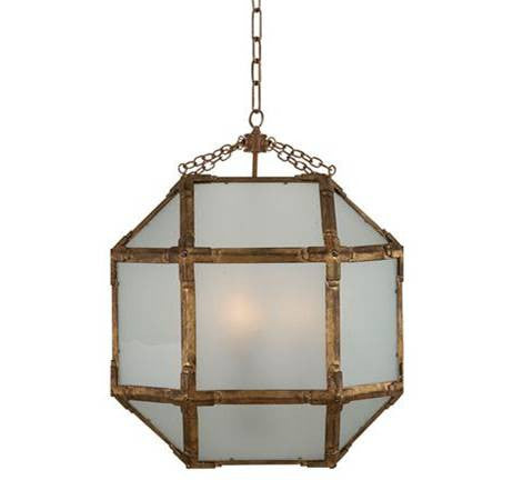 Medium Morris Lane Lantern Pendant by Visual Comfort in Gilded Iron with Frosted Glass SK5009GI-FG